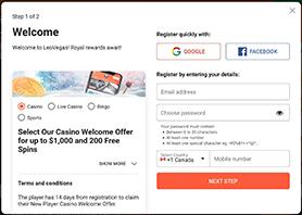 Step 1 register and deposit