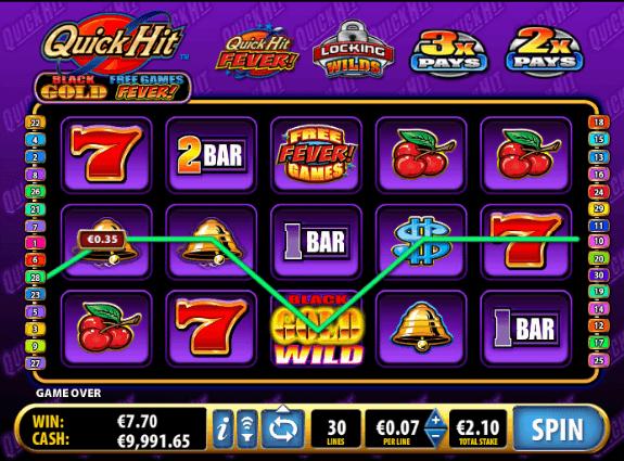 Quick Hit Black and White 7s Slot Machine